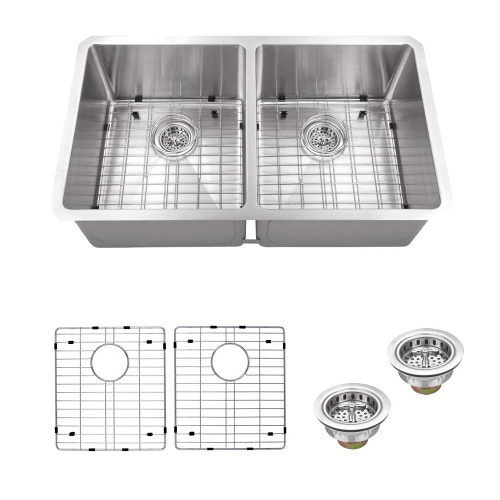 Schon All-in-One Undermount Stainless Steel 32 in. Double Bowl Kitchen Sink, Brushed Satin was $374.4 now $269.0 (28.0% off)