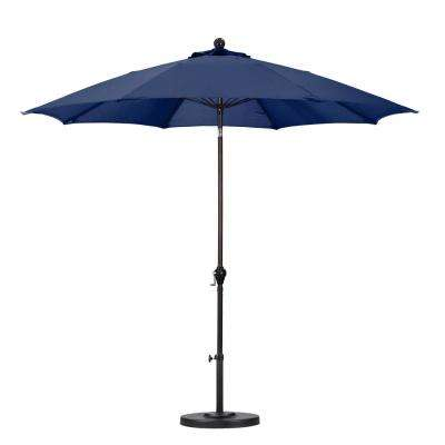 9 ft. Fiberglass Push Tilt Patio Umbrella in Navy Blue Polyester