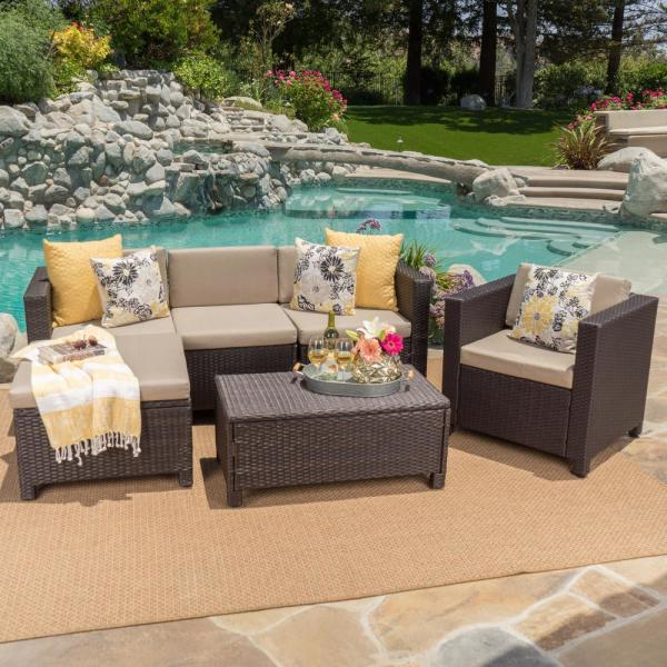 6-Piece Wicker Patio Sectional Seating Set with Beige Cushions