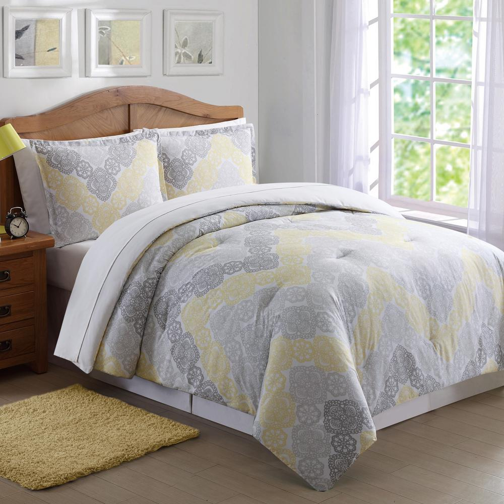 antique lace chevron gray and yellow 3 piece full and queen comforter set cs7077gyfq 1500 the. Black Bedroom Furniture Sets. Home Design Ideas