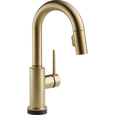 Trinsic Single-Handle Pull-Down Sprayer Bar Faucet Featuring Touch2O Technology in Champagne Bronze