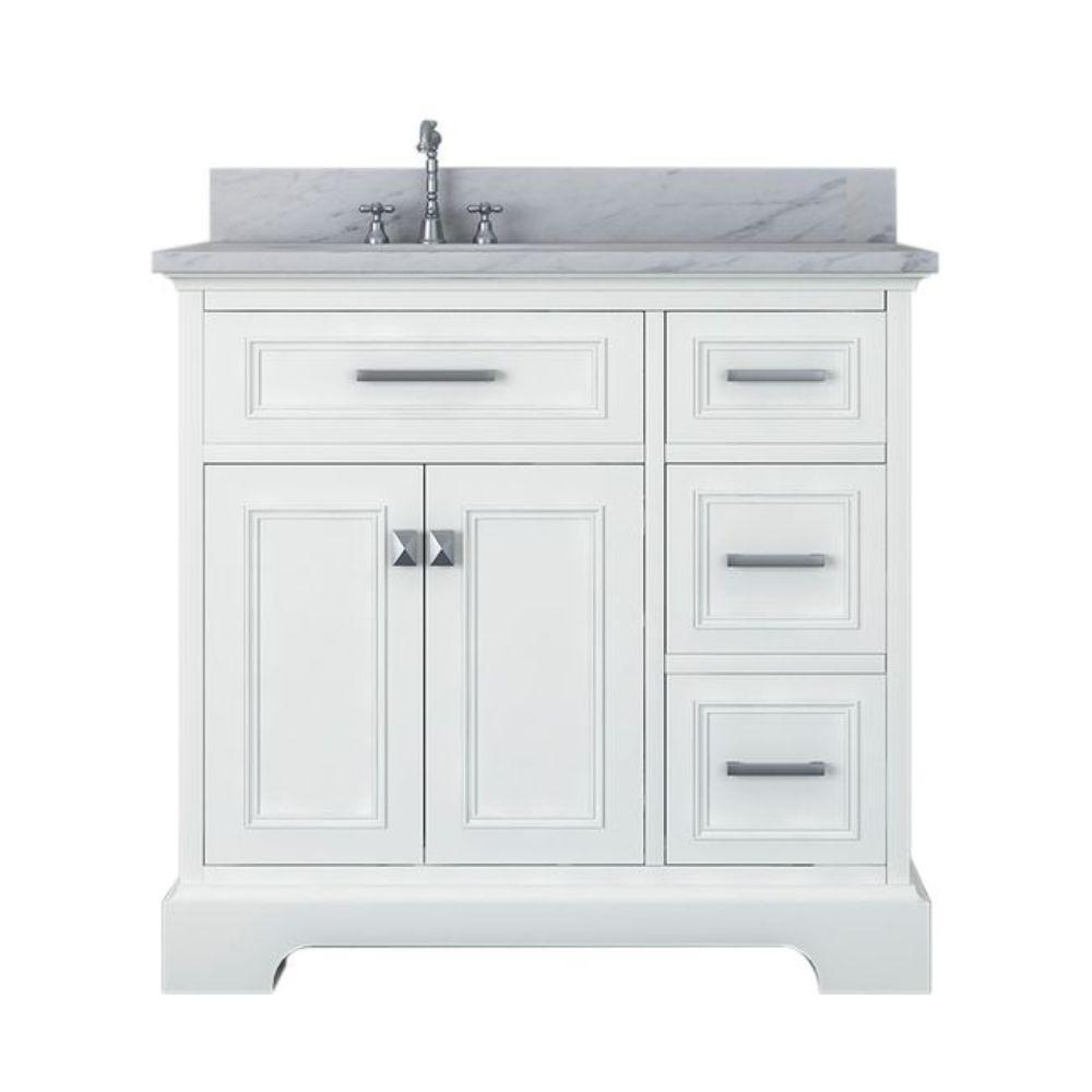 Yorkshire 37 in. W x 22 in. D Bath Vanity in White with Marble Vanity Top in White with White Basin