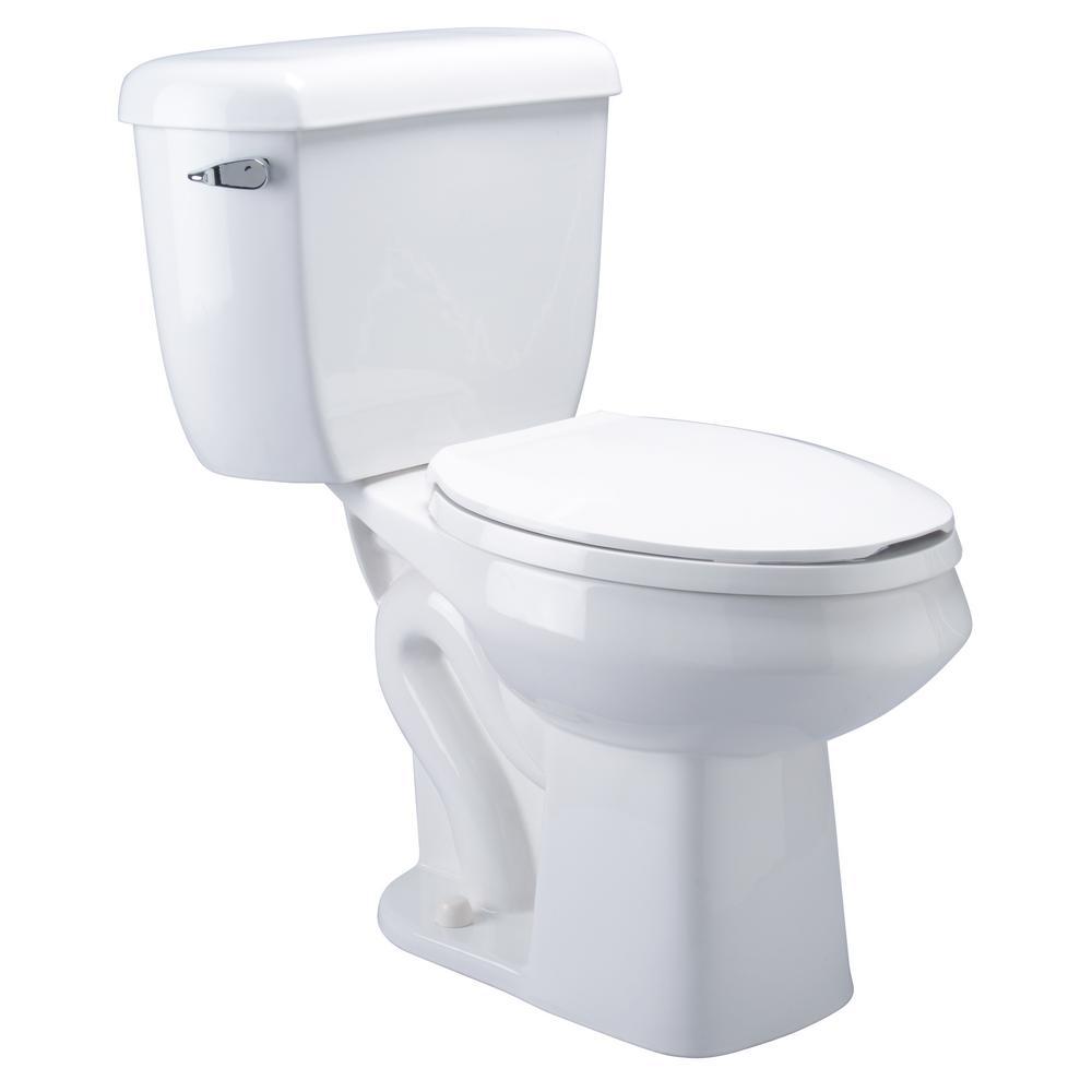 2-Piece 1.6 GPF Single Flush Elongated Pressure Assist Toilet in White