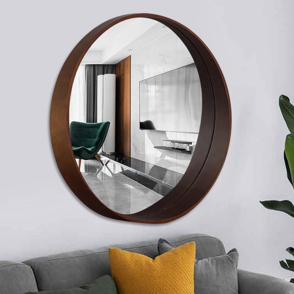 Neu Type Bent Wood Round Hanging Wall Mounted Vanity Mirror Jj00772zzc The Home Depot