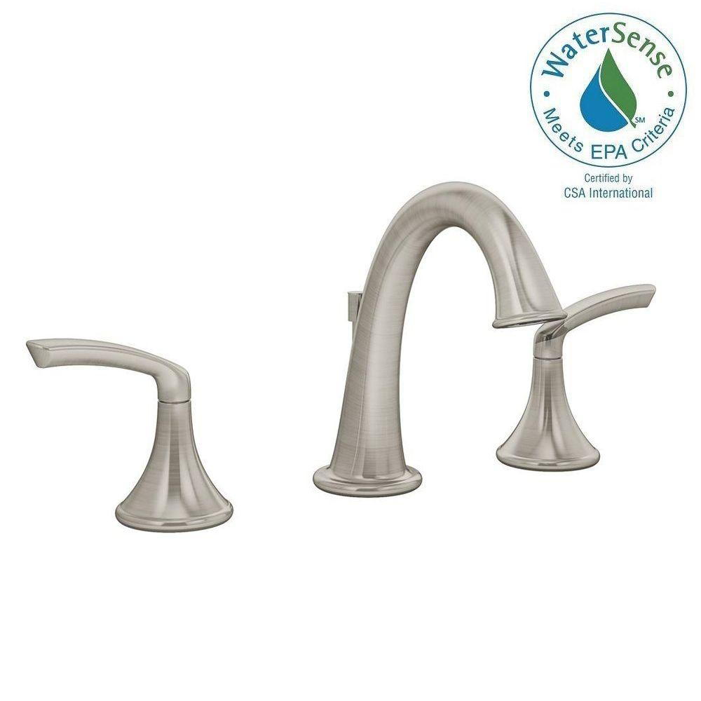 Symmons Elm 8 In Widespread 2 Handle Lavatory Faucet Satin Nickel