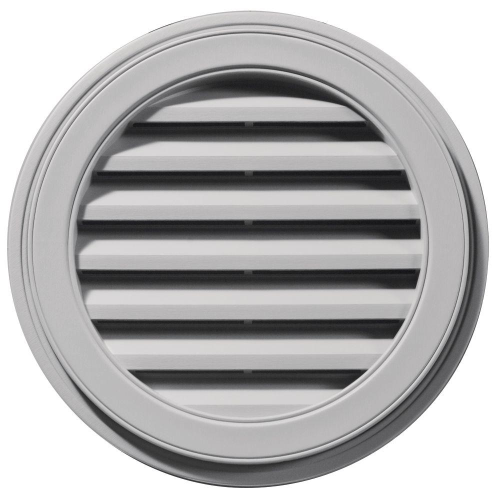 Builders Edge 22 in. Round Gable Vent in Gray
