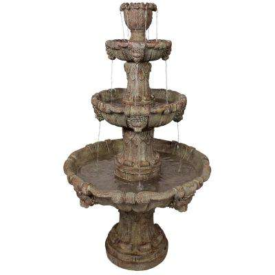 Medici Lion Stone Bonded Resin 4 Tier Fountain in Brown