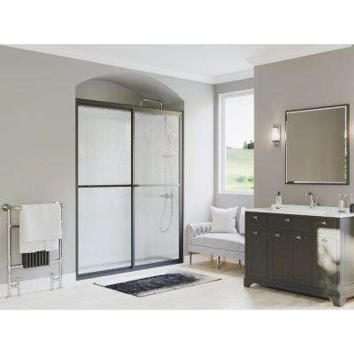 Paragon 42 in. to 43.5 in. x 70 in. Framed Sliding Shower Door with Towel Bar in Black Bronze and Obscure Glass