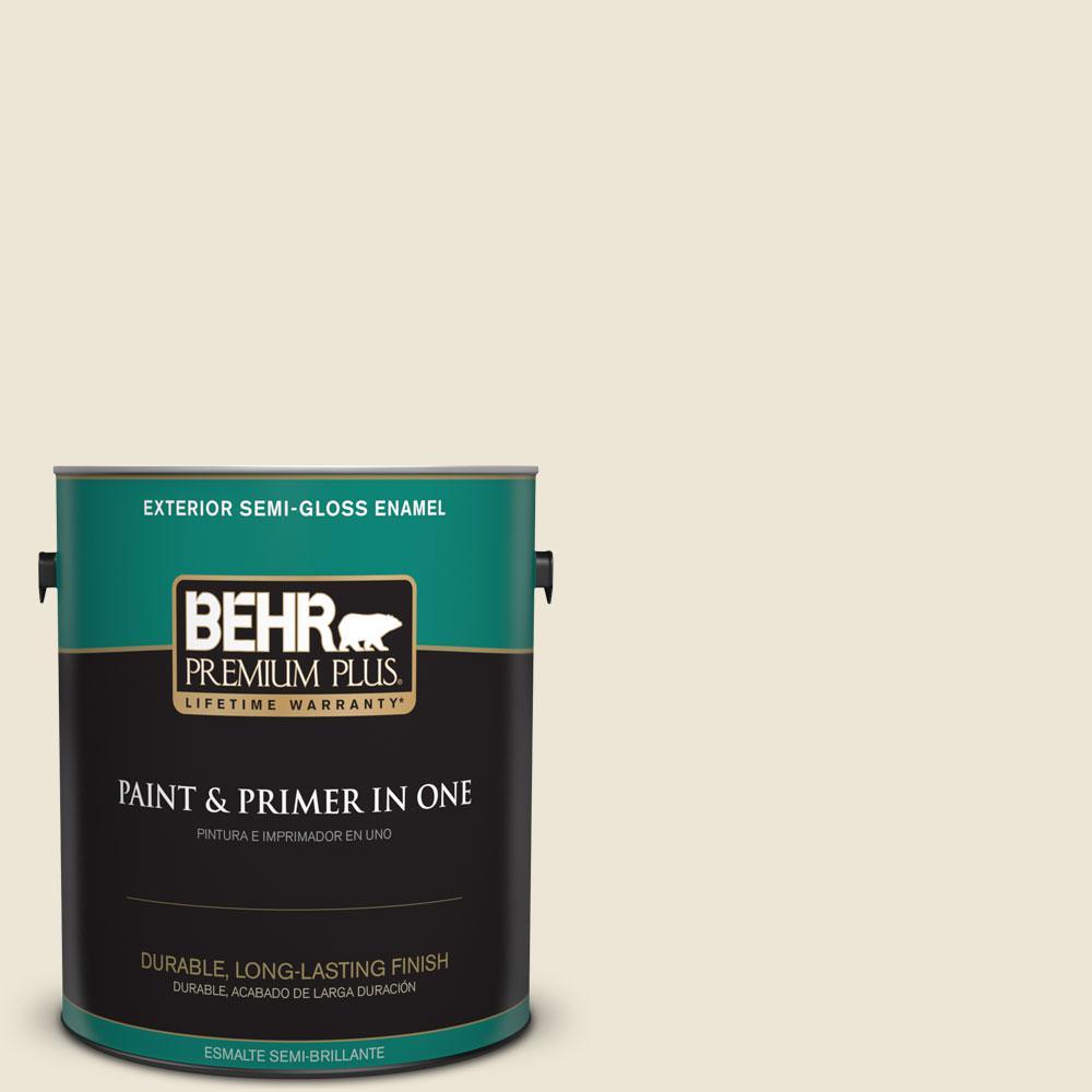 BEHR Premium Plus 1-gal. #PWN-61 Oriental Silk Semi-Gloss Enamel Exterior Paint