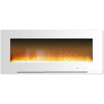 Fireside 56 in. Wall-Mount Electric Fireplace in White with Crystal Rock Display