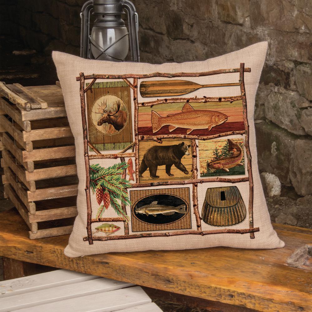 Lodge Hollow Natural Fish Camp Fish Decorative Pillow