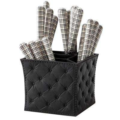 London Chic 16-Piece Black and White Flatware Set with Black Caddy