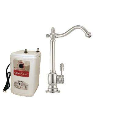 Victorian Single-Handle Hot and Cold Water Dispenser Faucet in Polished Nickel with Instant Hot Tank