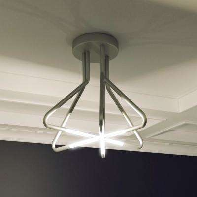 Zosma Collection 20 in. Silver Integrated LED Modern Star-Pattern Ceiling Light