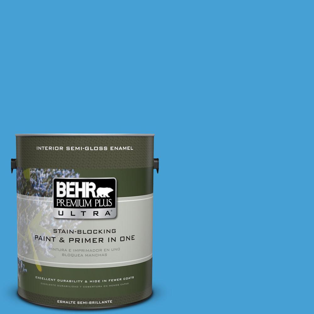 1-gal. #P500-5 Peaceful River Semi-Gloss Enamel Interior Paint