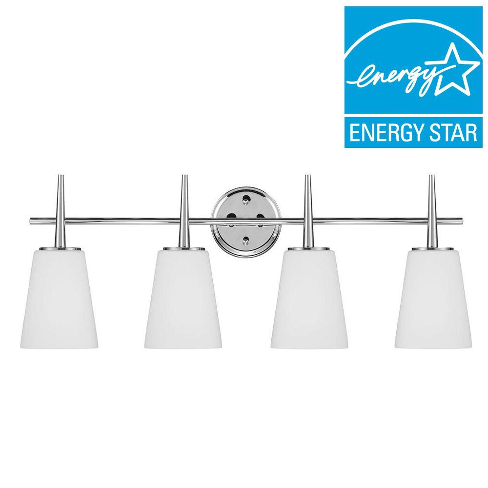 Sea Gull Lighting Driscoll 4-Light Chrome Fluorescent Wall/Bath Vanity Light with Inside White Painted Etched Glass