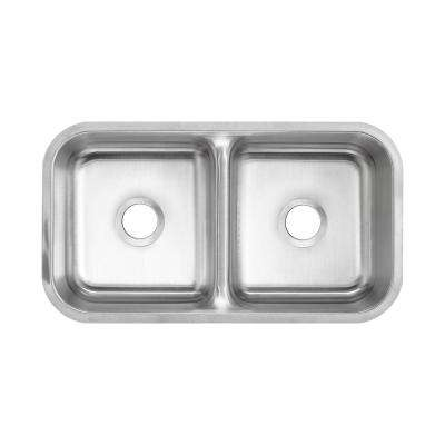 Undermount 18-Gauge Stainless Steel 32 in. 0-Hole Low Divider Double Bowl Kitchen Sink