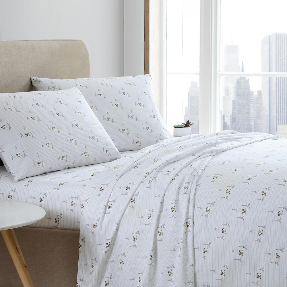 Ed Ellen Degeneres Augie In Paris 3 Piece White T200 Cotton Twin Sheet Set Ushsa01168404 The Home Depot
