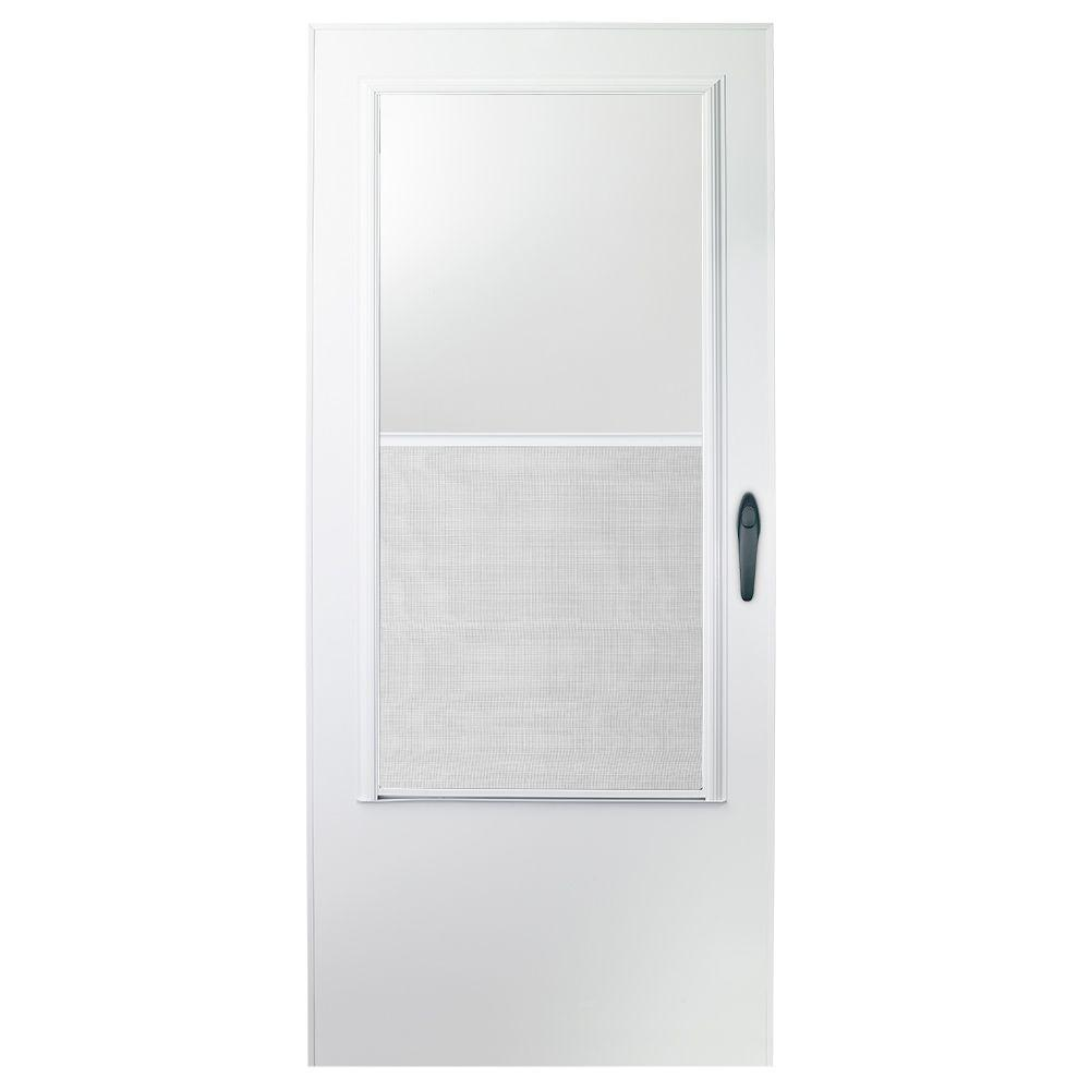 EMCO 32 in. x 80 in. 100 Series White Self-Storing Storm Door