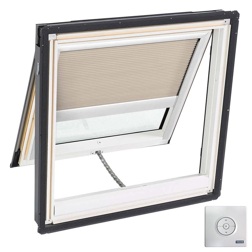 21 in. x 26-7/8 in. Venting Deck-Mount Skylight, Laminated LowE3 Glass,