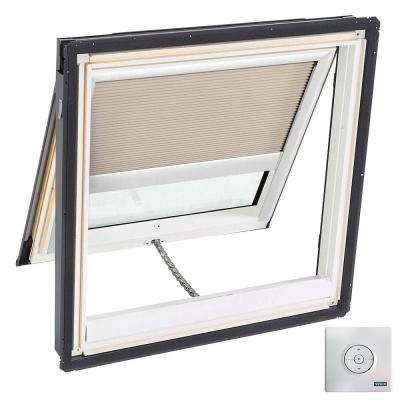 44.25 x 45.75 in. Venting Deck-Mount Skylight, Laminated Low-E3 Glass, Classic Sand Solar Powered Light Filtering Blind