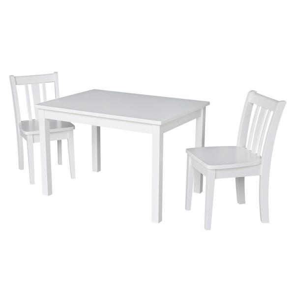 International Concepts Jorden White 3-Piece Kid's Table and Chair Set