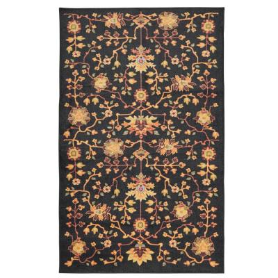 Mohawk Home Laneville Black 5 ft. x 8 ft. Floral Area Rug, Black & Tan