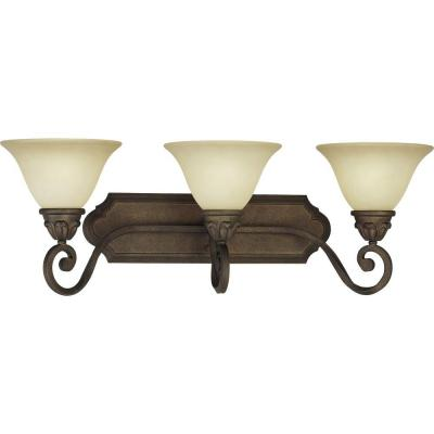 Isabela 3-Light Indoor Italian Dusk Bath or Vanity Light Wall Mount or Wall Sconce with Sandstone Glass Bell Shades