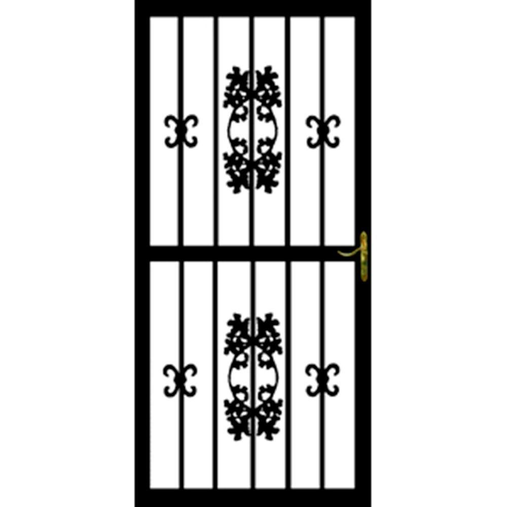 36 in. x 80 in. 300 Series Black Hickory Security Door
