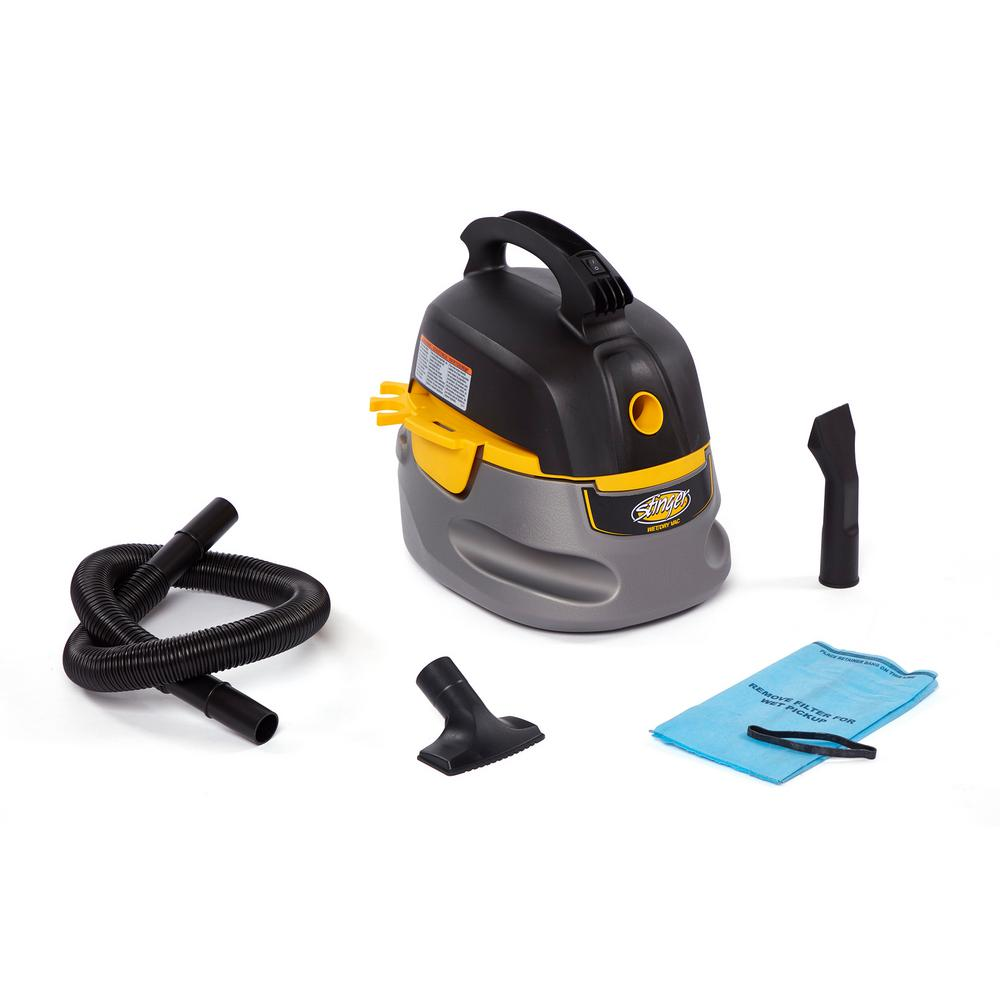 Stinger 2.5 Gal. 1.75-Peak HP Compact Wet/Dry Shop Vacuum with Filter Bag, Hose and Accessories