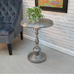 Carolina Cottage Pearson Antique Nickle End Table by Carolina Cottage