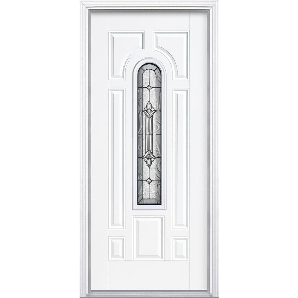Masonite 36 in. x 80 in. Providence Center Arch Primed White Right-Hand Inswing Steel Prehung Front Door with Brickmold