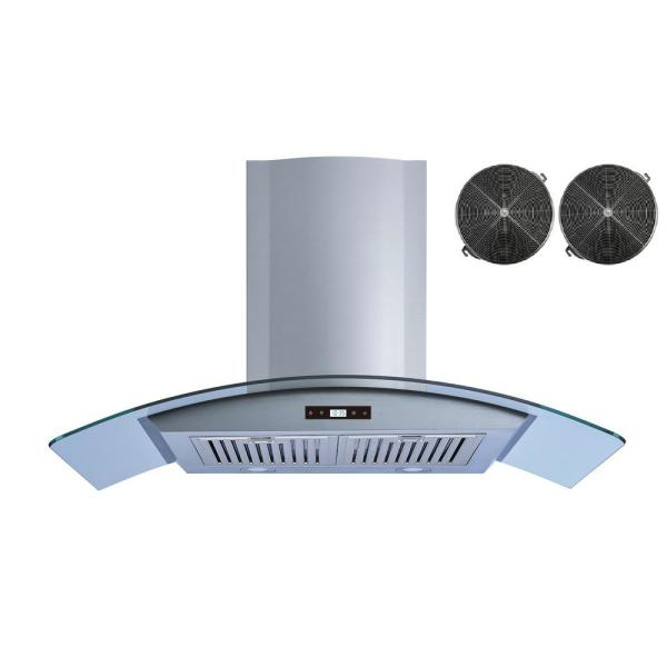36 in. Convertible Kitchen Wall Mount Range Hood in Stainless Steel and Glass with Touch Control and Carbon Filters