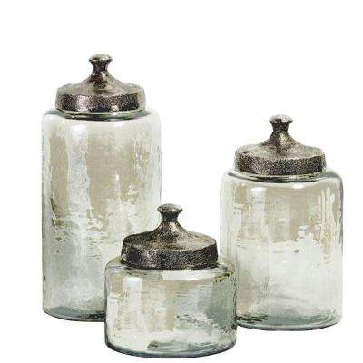 Luster Assorted Sizes Green Glass Canister (Set of 3)
