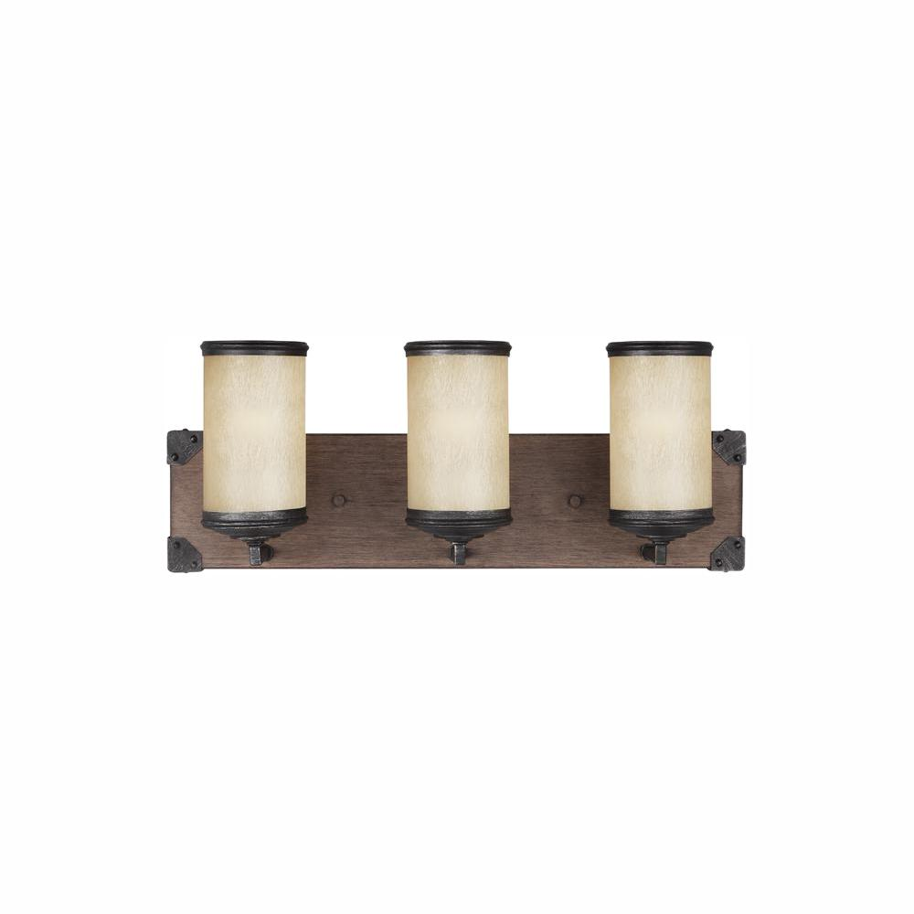 Sea Gull Lighting Dunning 21 in. W. 3-Light Weathered Gray and Distressed Oak Vanity Light with LED Bulbs
