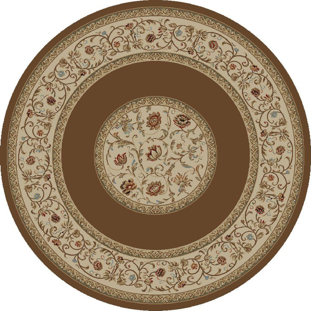 Ankara Floral Border Brown 5 ft. 3 in. Round Area Rug