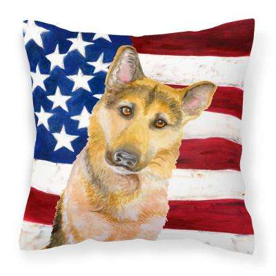 14 in. x 14 in. Multi-Color Lumbar Outdoor Throw Pillow German Shepherd #2 Patriotic
