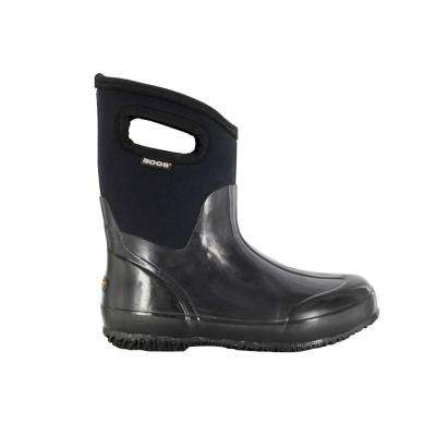 Classic Mid Women 9 in. Size 11 Glossy Black Rubber with Neoprene Handle Waterproof Boot