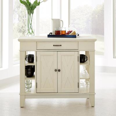 Seaside Lodge White Kitchen Island