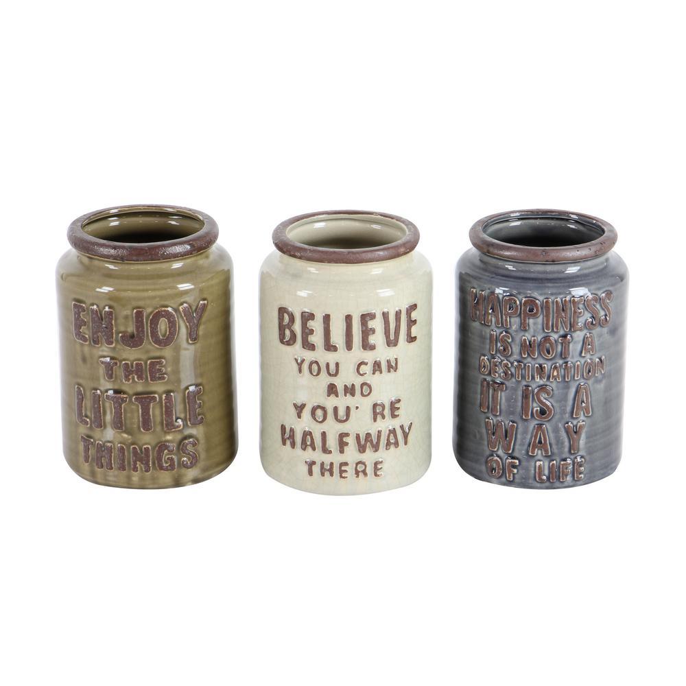 6 in. x 8 in. Rustic Ceramic Cutlery Jars in Brown and Beige (Set of 3)