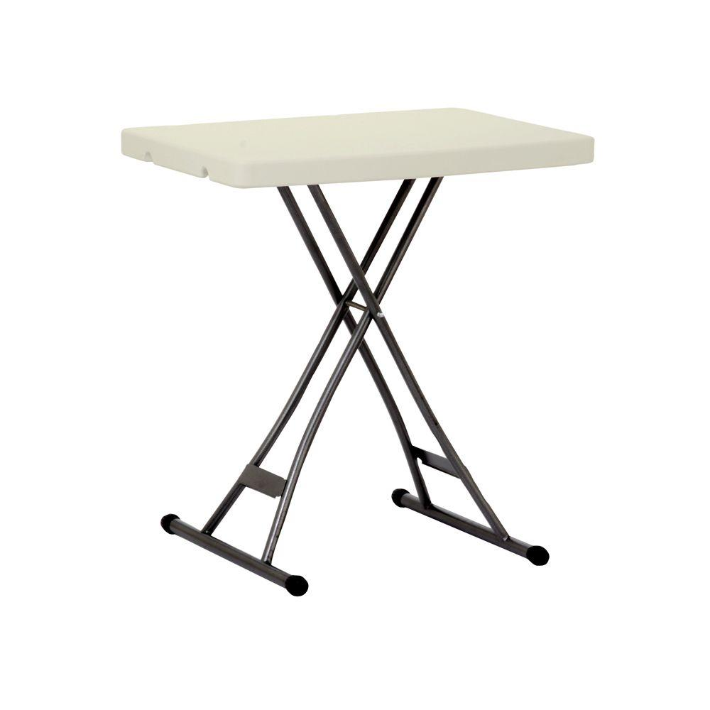 Enduro 18 in. Earth Tan Plastic Adjustable Height Folding High Top Table