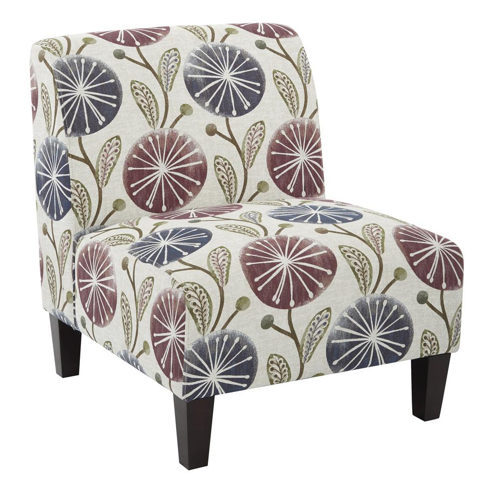 Ave Six Magnolia Dandelion Plum Fabric Accent Chair And Solid Wood Legs
