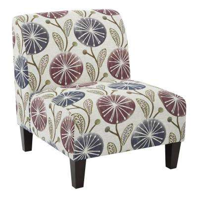 Magnolia Dandelion Plum Fabric Accent Chair and Solid Wood Legs