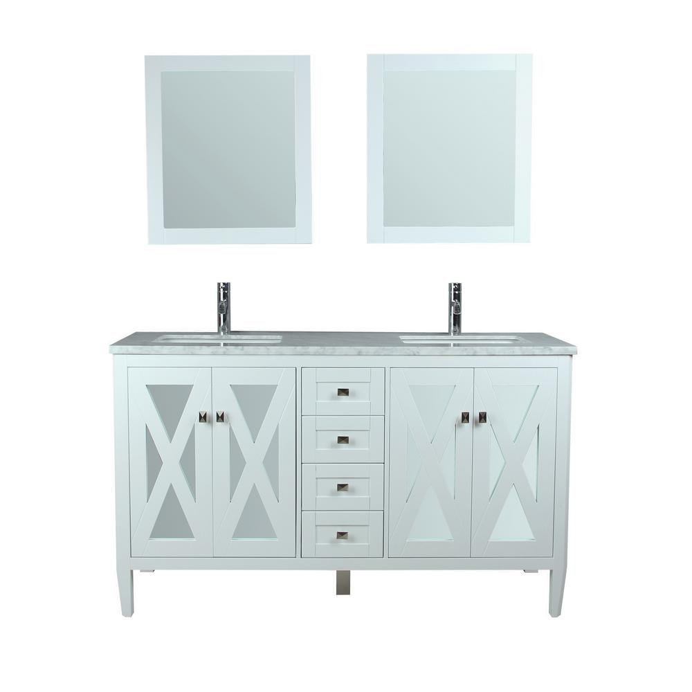 MTD Vanities Reflection 60 in. W x 22 in. D x 36 in. H Vanity with White Marble Top in White with White Basin and Mirror