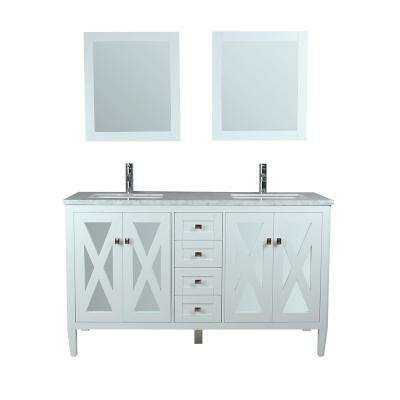 Reflection 60 in. W x 22 in. D x 36 in. H Vanity with White Marble Top in White with White Basin and Mirror