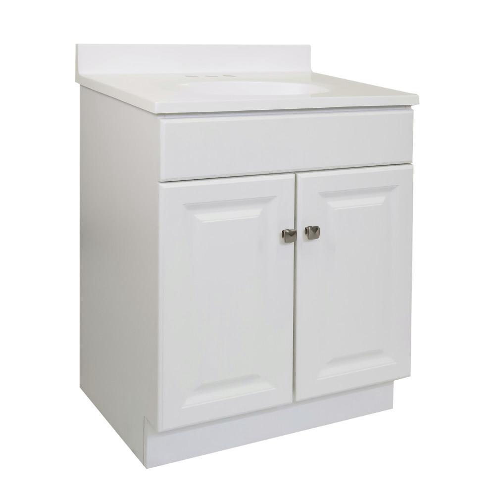 Design House 24 in. x 18 in. x 33.5 in. 2-Door Bath Vanity in White w/ 4 in. Centerset White on White CM Vanity Top w/ Basin
