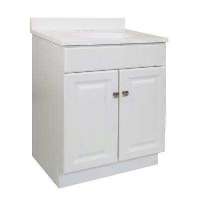24 in. x 18 in. x 33.5 in. 2-Door Bath Vanity in White w/ 4 in. Centerset White on White CM Vanity Top w/ Basin