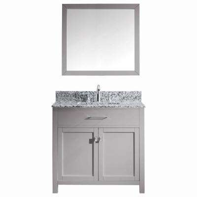 Caroline Madison 36 in. W x 22 in. D Bath Vanity in Cashmere Grey with Granite White Vanity Top and Square Sink