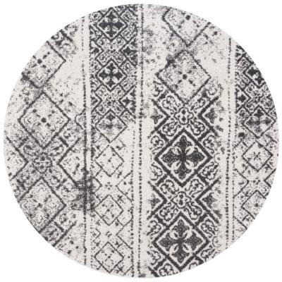 Adirondack Silver/Black 6 ft. x 6 ft. Round Area Rug