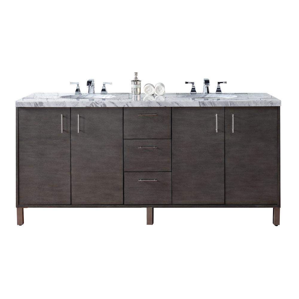 Metropolitan 72 in. W Double Vanity in Silver Oak with Marble